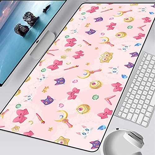 Ordenador Anime Sailor Moon Gaming Alfombrillas de ratón Large Gamer Pink Keyboard Pad XXL Bloqueo Borde PC Tapete Escritorio C 800X300X3mm