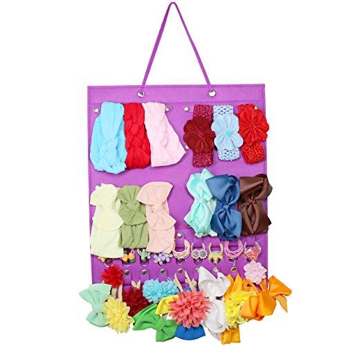 Baby Girl Headbands Storage Holder, Newborn Baby Headbands and Bows Hanging Organizer, Hair Bow Clips,Hair Elastic Ties Display Stand (Purple)