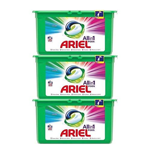 Ariel All in 1 PODS Colorwaschmittel, 105 Waschladungen (3 x 35 Waschladungen)