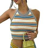 Camiseta de tirantes de punto con cuello halter para mujer, con estampado de rayas, sin mangas, con tiras, Y2K para fiestas