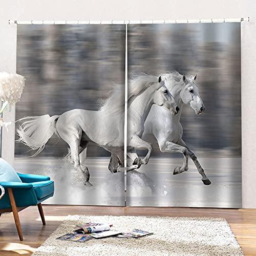 Minyose Moden Tende A Cavallo Bianco Tende per Finestre 3D per Soggiorno Tende Stereoscopiche per...