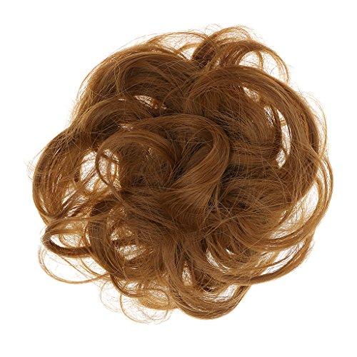 MagiDeal Postiche Cheveux en Fibre Synthétique Chouchou Chignons VOLUMINEUX Bouclés Ou Chignon Décoiffé Couleurs Dorée