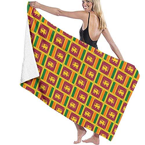 Pool Towel Originalität Sri Lanka Flagge Weiche Badetücher Mikrofaser Spezielle Strandtuch Bad Blatt Reise Pool Handtuch 80X130Cm Personalisiert Erwachsene Absorbent Lightweight Q