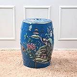 Shoe stool LUYIASI- Fiori e Uccelli Dipinti a Mano Sgabelli Cinesi Sgabello Tamburo in Ceramica Sgabelli Sgabello Rotondo (32x45cm) (Colore : Blu)