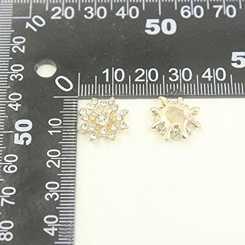 URNOFHW Strass DIY Applique Metall Button Badeanzug Sandalen Schmuck Wohnungen für Hochzeitsgeschenke Diamante Polsterung 15mm 10 stücke (Color : Gold)