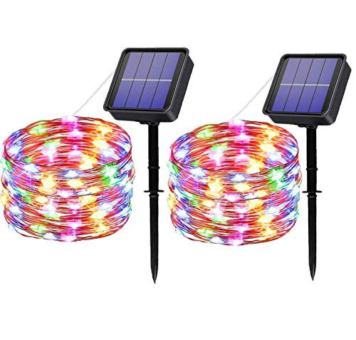 MAOKOT Solar String Lights, 100LED 33ft/10M Solar Fairy Lights, Outdoor/Indoor 8 Modes Starry Lights, Garden Lights Copper Wire Lighting for Wedding, Patio, Yard(Multicolor, 2Pack)