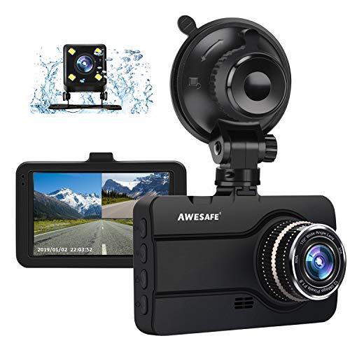 AWESAFE Cámara de Coche Dash CAM 1080P con Cámara Trasera Full HD 170 Ángulo con WDR G-Sensor, Detección de Movimiento, Grabación en Bucle, Visión Nocturna, Monitor de Aparcamiento