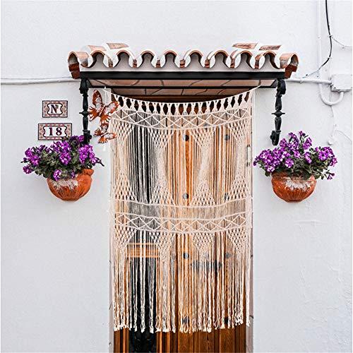 fuguzhu - Cortina de macramé tejida a mano, para colgar en la pared, telón de fondo de boda, cortinas de ventana cenefa, regalos para madres o amigas