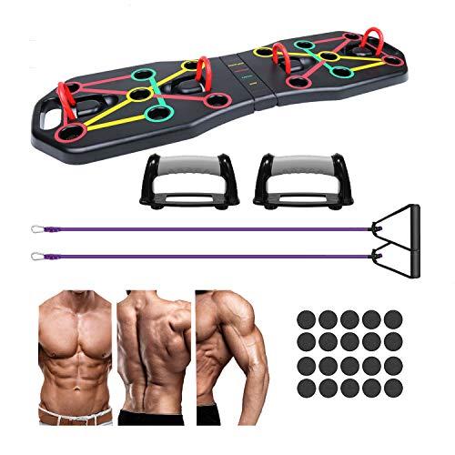 Homvik Tabla de Flexiones Soporte para Flexiones Push Up Board con Bandas de Resistencia para Mujeres Hombres Entrenamiento Muscular Multifuncional en Casa