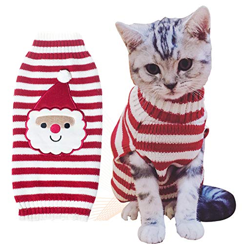 BOBIBI Cat Sweater Christmas Santa Claus Pet Cat Winter Knitwear Warm Clothes