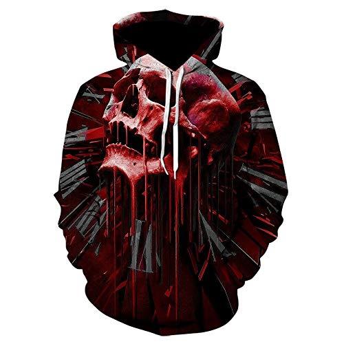 Hoodie Capuchagothic Skull Hoodie Mens Hip Hop Hoodie Men/Women's 3D Sweatshirt Print Fake Denim Jacket Hoodie Black Pullover SizeXXL We-697