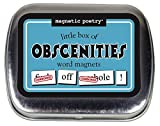 A cute little tin filled with obscene words. The perfect collection of naughty words for your fridge door or filing cabinet.  72 themed magnetic word tiles packaged in a small, giftable, shrink-wrapped tin container