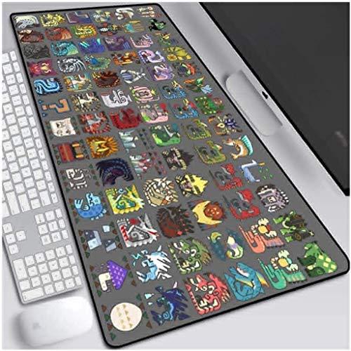 WJFQ Juego de Velocidad Alfombrilla de ratón ACG Monster Hunter Amplio Mapa de Ratón Extendido Gran Matada de Teclado Mapa de Gran tamaño Mousepad para computadora PC Desk Home Office