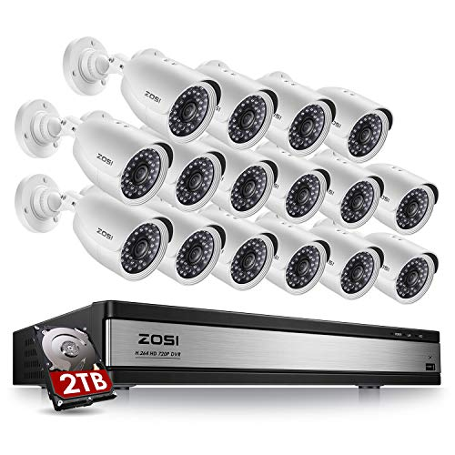 ZOSI 16 Channel Security Camera System for Home,1080N 16 Channel TVI DVR Recorder with (16) 720p...