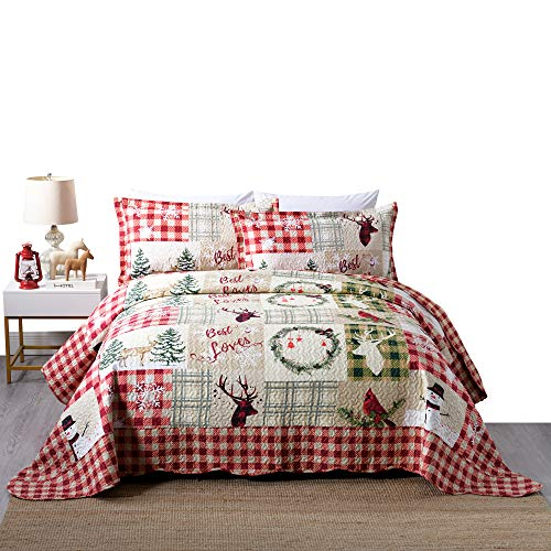 3 Piece Rustic Lodge Deer Quilt Christmas Quilt Quilted Bedspread Printed Quilt Quilt Set Bedding Throw Blanket Coverlet Lightweight Bedspread Ensemble/ Snowman Quilt (King)