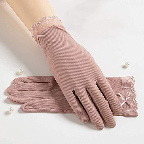 Guuisad Verano Mujeres UV Protección Guantes de conducción al Aire Libre y Montando Protector Solar Guantes Delgados Sección Delgada Alto Guantes de Seda de Hielo de Encaje elástico (Color : Pink)