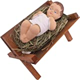 Baby Jesus in Wooden Manger Laying on Natural Hay, 4 Inch Small Nativity Figurine