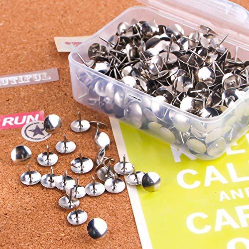 Yalis Thumb Tacks 500-count, 3/8-inch Steel Roundness Push Pins Office Tacks for Corkboard (Silver) Photo #6