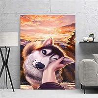 """キャンバスウォールアート美しいかわいい犬の絵の絵画ポスターとプリントリビングルームオフィスの家の装飾23.6"""" x35.4""""(60x90cm)フレームレス"""