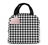 Houndstooth Black Insulated Dual Compartment Lunch Bag for Women Reusable Lunch Cooler Bag Soft Leakproof Liner Large Lunch Bag Tote for Work School