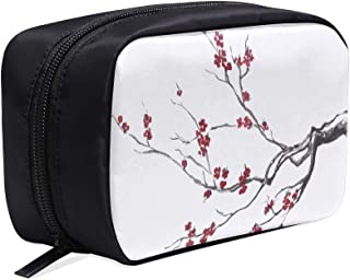 Realistic Sakura Blossom Birds Portable Travel Makeup Cosmetic Bags Organizer Multifunction Case Small Toiletry Bags For Women And Men Brushes Case