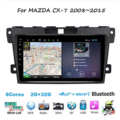 TypeBuilt Für Mazda CX-7 2008~2015 Android 9 Autoradio Radio 9 Zoll Navigationssystem Multimedia Spieler Headunit Stereo Link Spiegeln WiFi 4G Spiegel Link BT Freisprechfunktion,8cores,4G+64G