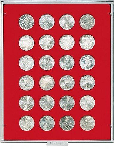 Bandeja de monedas 24 compartimentos, cada uno de 32,5 mm Ø [Lindner 2110], por ejemplo para 10 DM, 10 Euro, 1 onza Krügerrand (oro) - Versión: Standard (Gris / Pantalla roja)