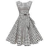Hanpceirs Women's Boatneck Sleeveless Swing Vintage 1950s Cocktail Dress BlackwhiteSplaid XL