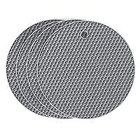flintronic sottopentola silicone set di 4, presine in silicone da cucina forma di alveare, resistente al calore fino a 250 °c, lavabile in lavastoviglie, multifunzione - tondo, grigio