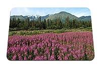 22cmx18cm マウスパッド (山野の花ピンクのモミの木) パターンカスタムの マウスパッド