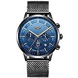 LIGE Herren Uhren Wasserdicht Chronograph Blau Zifferblatt Edelstahl Herrenuhr Analog Quarz Kalender Mondphase Armbanduhr Männer