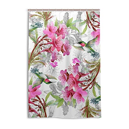 DEZIRO Cortina de ducha de poliéster con diseño de pájaros exóticos y flores, impermeable, 122 x 183 cm