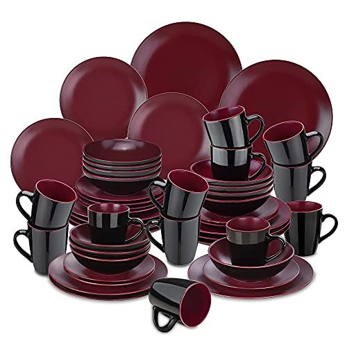 vancasso serie Bacche Vajillas Completas Modernas 32 piezas Vajillas de Ceramica para 8 Personas con Plato Llano, Plato de Postre, Cuenco y Taza, Redonda Mate Rojo