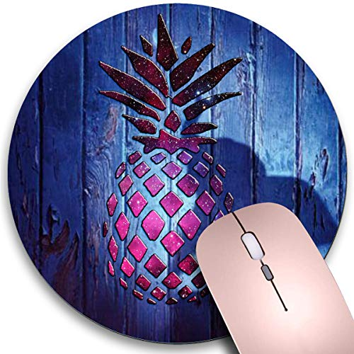 Round Mouse Pad,Pineapple and Elephant Non-Slip Rubber Circular Mouse Pads Customized Designed for Home and Office,7.9 x 7.9inch