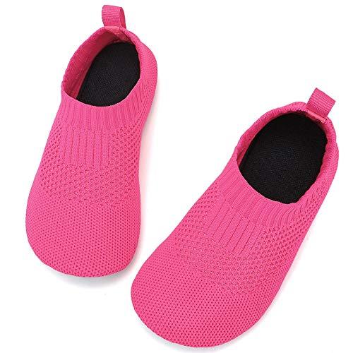 STQ Zapatillas de estar por casa para niños y niñas, antideslizantes, ligeras, para aprender a andar, color, talla 20/21 EU