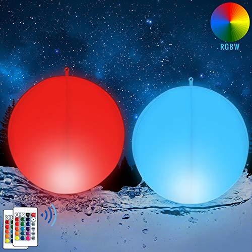 2x LED Solar Kugelleuchte Schwimmende Pool Beleuchtung Wasserdicht IP68 Außenleuchte Gartenlampe 35cm Decor