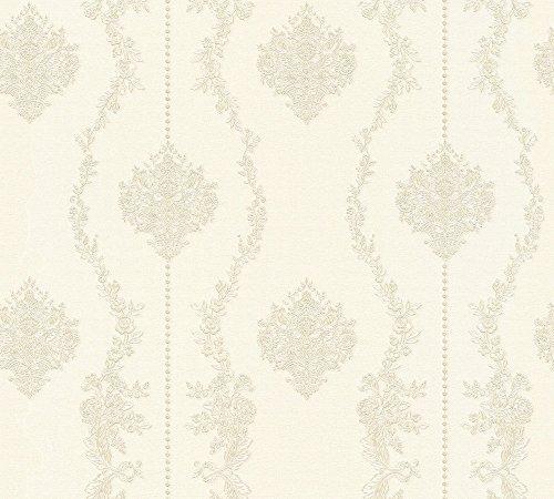 A.S. Création Vliestapete Chateau 5 Tapete mit Ornamenten barock 10,05 m x 0,53 m grau metallic weiß Made in Germany 344933 34493-3