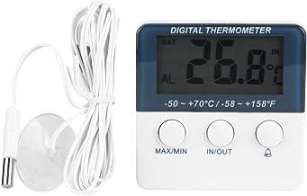 Alinory Termómetro Digital, Mini medidor de Monitor de Temperatura con termómetro de Alarma Digital electrónico para Interiores y Exteriores con sonda