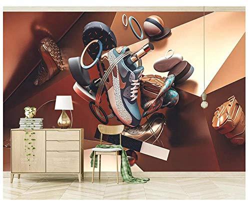 muurschilderingen op maat behang moderne creatieve sneakers geometrisch patroon 3D muurschildering PVC verwijderbare woondecoratie slaapkamer woonkamer winkel achtergrond muur 250(w)x175(H)cm