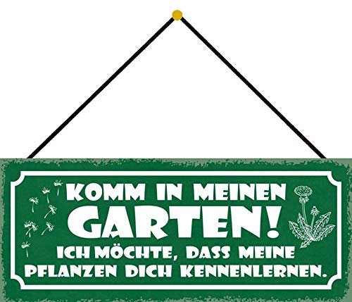 FS Komm in Mein Garden Jardin, Je Voudrais Que Mes Plantes Vous connaissent Une Plaque en métal bombée en métal 10 x 27 cm avec Cordon