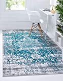 """Pile: Polypropylene - Backing: Cotton - Weave: Machine Woven (Power Loomed) - Made In: Turkey Size in FT: 5' 0 x 7' 9 - Size in CM: 150 x 235 - Pile Height & Thickness: 1/6"""" - Colors: Blue, Gray, Teal, Ivory, Black Easy-to-clean, stain resistant, and..."""