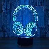 Testa di musica Lampada da notte a LED 3D - Lampade del buonumore 7 colori Lampada da tavolo a LED dimmerabile con telecomando luci 3D