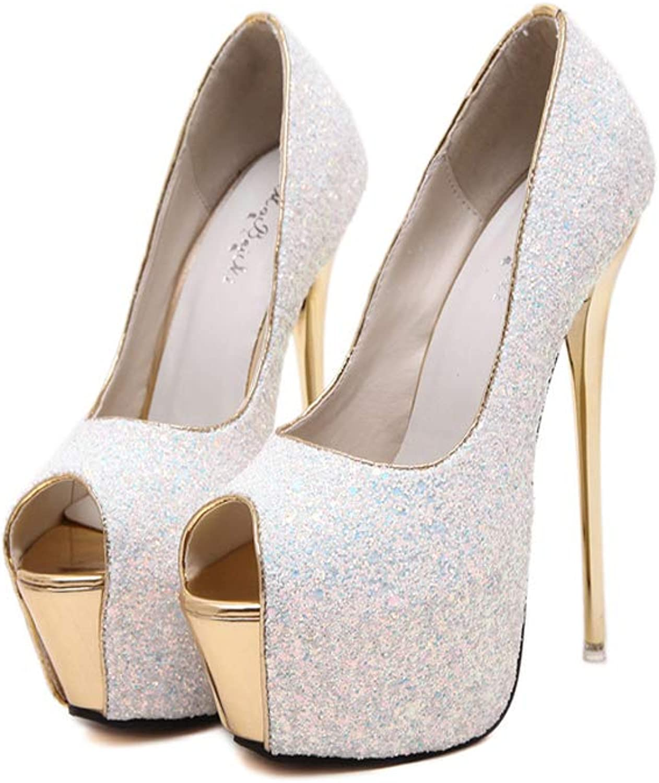 Summer 16Cm Ultra High Thin Heels Sandals Single shoes Bling Open Toe Sexy Wedding shoes Platform Pumps