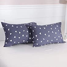 Homiest 2 Pack Brushed Microfiber Pillow Cases Triangle Pillowcases Queen Size 20x30, Navy Blue Triangle
