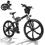 Bicicletta Elettrica Pieghevole, 26' mountain bike elettrica con motore da 36V 8Ah batteria rimovibile, Professionale Shimano 21 velocità, Fino a 35 km/h, 60 km