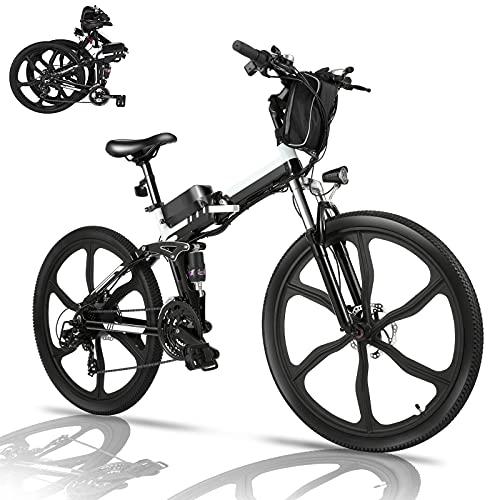 Bicicletta Elettrica Pieghevole, 26  mountain bike elettrica con motore da 36V 8Ah batteria rimovibile, Professionale Shimano 21 velocità, Fino a 35 km h, 60 km