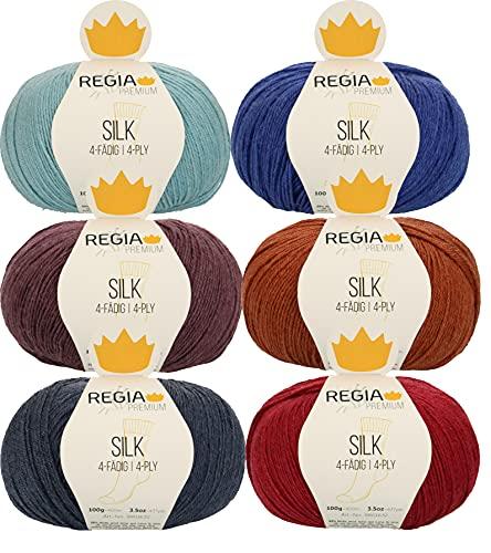 Regia - Gomitolo di lana per calze, 6 x 100 g, con seta per lavorare a maglia o all'uncinetto, non solo per calzini