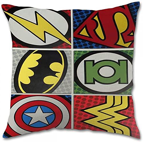 SHAA Dc Comics Vs Marvel Fundas de almohada cuadradas de algodón (40,6 x 40,6 cm)