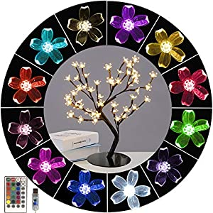 Lighted Up 16 Colors Changing Cherry Blossom Light, Colorful Bonsai Tree Light Artificial Tree 48 LED Flower Night Light Adjustable Branches Tabletop Tree Light for Teens Girls Gift,Home,Party Decor