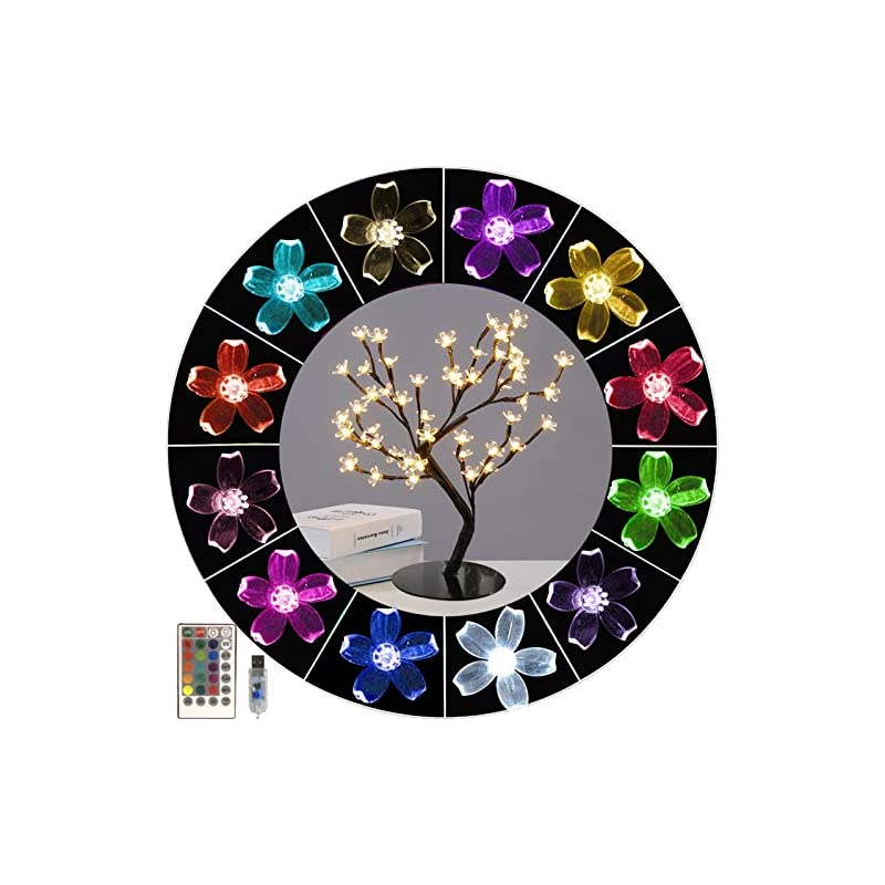 silk flower arrangements lighted up 16 colors changing cherry blossom light, colorful bonsai tree light artificial tree 48 led flower night light adjustable branches tabletop tree light for teens girls gift,home,party decor
